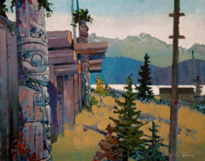 "SOLD ""Ksan Counterlight, Skeena,"" by Robert Genn 16 x 20 – acrylic $4000 Unframed"