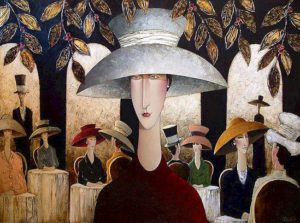 "SOLD ""Lady in a Cafe,"" by Danny McBride 36 x 48 – acrylic $4150 Unframed"