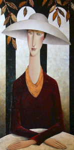 "SOLD ""Lady in a White Hat,"" by Danny McBride 24 x 48 – acrylic $3200 Unframed"