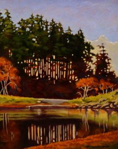 "SOLD ""Lagoon Reflections,"" by Ray Ward 8 x 10 – oil $675 Framed"