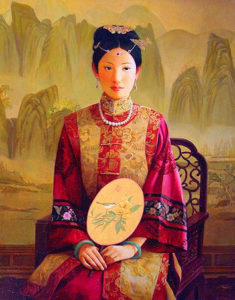 "SOLD ""Qing Dynasty Beauty,"" by Dongmin Lai 22 x 28 – oil $7500 Framed"