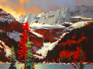 "SOLD ""Lake Louise Sunset,"" by Michael O'Toole 30 x 40 – acrylic $3330 Framed"