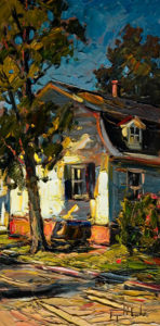 "SOLD ""La Maison ensoleilleé,"" by Raynald Leclerc 12 x 24 – oil $1350 Unframed"