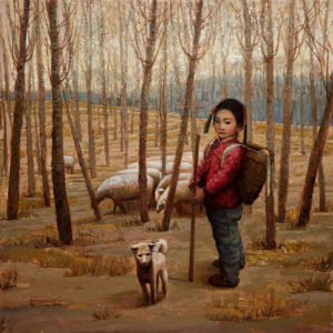 "SOLD ""Lan-Lan Tending Her Flock (Northern China),"" by Dongmin Lai 12 x 12 - oil $1335 Unframed $1550 in show frame"