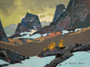 "SOLD ""Larches at Tamarack Glen,"" by Robert Genn 12 x 16 – acrylic $3200 Unframed"