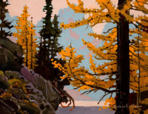 "SOLD ""Larch Pattern, McArthur,"" by Robert Genn 14 x 18 – acrylic $3600 Unframed"