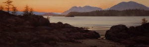 "SOLD ""Last Light Near Tofino,"" by Ray Ward 8 x 24 – oil $945 Unframed"