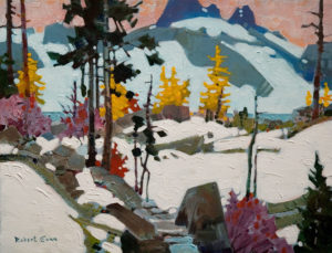 "SOLD ""The Last Steps to Oesa, Yoho Park,"" by Robert Genn 14 x 18 – acrylic $3300 Unframed"