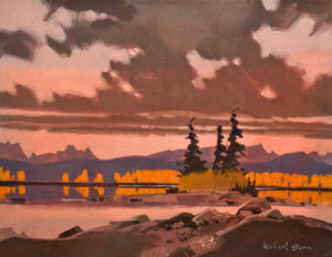 "SOLD ""Late Afternoon in the Jasper Lakes,"" by Robert Genn 14 x 18 – acrylic $4600 Unframed"
