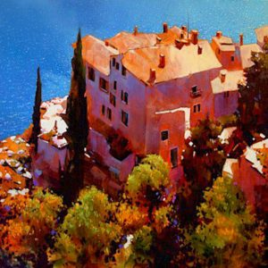 "SOLD ""Late Afternoon on the Amalfi,"" by Michael O'Toole 40 x 40 – acrylic $3950 Framed"