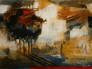"""SOLD """"Late Afternoon Shadows,"""" by Heather Haynes 30 x 40 – acrylic $2410 (thick canvas wrap without frame)"""