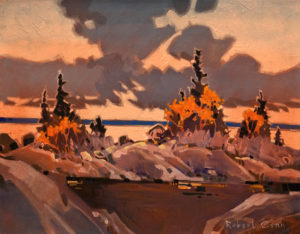 "SOLD ""Late Light, Lake of the Woods II,"" by Robert Genn 14 x 18 – acrylic $5000 Unframed"