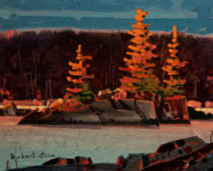 "SOLD ""Late Light, Islet (Grenville Channel),"" by Robert Genn 8 x 10 – acrylic $2150 Unframed"