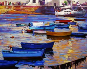 """SOLD """"Late Light, Brittany, France,"""" by Mike Svob 24 x 30 – acrylic $3560 Framed"""