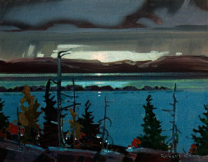 "SOLD ""Late Light at Marchand Reef, Langara Island,"" by Robert Genn 11 x 14 – acrylic $2200 Unframed"