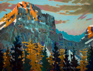 "SOLD ""Late Light on Wiwaxy from Larch Grove, Yoho Park, B.C.,"" by Robert Genn 14 x 18 – acrylic $3300 Unframed"