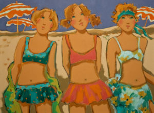 "SOLD ""Les cousines sur la plage,"" by Claudette Castonguay 18 x 24 – acrylic $950 Unframed"