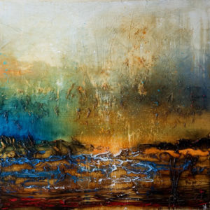 "SOLD ""Let It Pour In,"" by Laura Harris 48 x 48 – acrylic $6600 (thick canvas wrap without frame)"