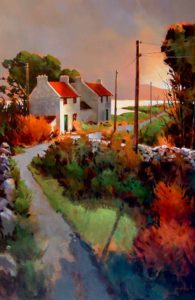 "SOLD ""Light of Donegal,"" by Michael O'Toole 40 x 60 – acrylic $5650 (thick canvas wrap without frame)"