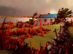 """SOLD """"Light on Achill Island,"""" by Michael O'Toole 12 x 16 – acrylic $975 Framed"""