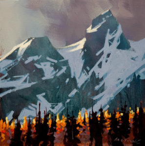"SOLD ""Light Peaks, Tantalus Range,"" by Michael O'Toole 12 x 12 – acrylic $720 Unframed"