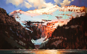 "SOLD ""Light and Shadow, Lake Louise,"" by Michael O'Toole 30 x 48 – acrylic $4850 Unframed"