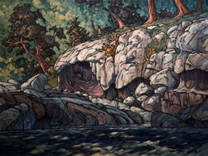 "SOLD ""Limestone Cave,"" by Phil Buytendorp 30 x 40 – oil $3190 Unframed"