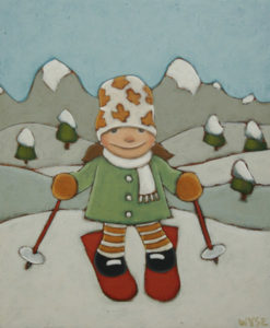 """SOLD """"Little Downhiller,"""" by Peter Wyse 10 x 12 – acrylic $550 (unframed panel with 1 1/2"""" wide edging)"""