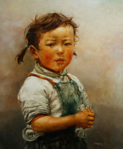 "SOLD ""Little Handkerchief,"" by Donna Zhang 30 x 36 – oil $6400 Custom framed $6000 with standard frame"