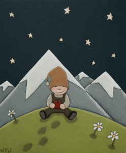 "SOLD ""The Little Hiker,"" by Peter Wyse 10 x 12 – acrylic $625 (unframed panel  with 1 1/2"" wide edging)"