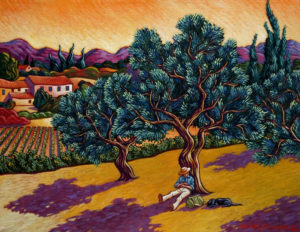 "SOLD ""A Little Nap Under the Olive Tree,"" by Michael Stockdale 14 x 18 – acrylic $690 Unframed"