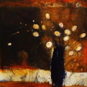 "SOLD ""A Little Night Music,"" by Susan Flaig 24 x 24 – acrylic with graphite $1000 Unframed"