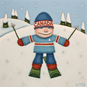 "SOLD ""Little Shoosher,"" by Peter Wyse 12 x 12 – acrylic $760 (unframed panel with 1 1/2"" edging)"