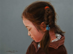 "SOLD ""Little Sister,"" by Donna Zhang 9 x 12 – oil $990 Unframed $1250 Custom framed"