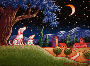 """SOLD """"A Little Song to the Moon,"""" by Michael Stockdale 6 x 8 – acrylic $290 Unframed"""