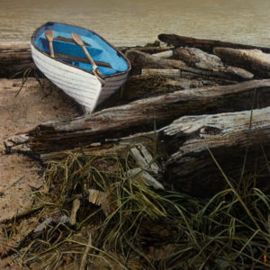 "SOLD ""Logged In,"" by Alan Wylie 26 x 26 – oil $7200 Framed"