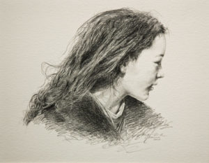 "SOLD ""Looking Away,"" by Donna Zhang 9 1/2 x 12 – pencil drawing $1240 Custom framed"