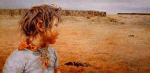 "SOLD ""Looking Back,"" by Donna Zhang 18 x 36 – oil $5200 Custom framed"