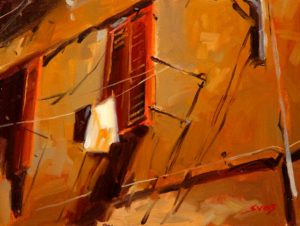 """SOLD """"Louvres and Laundry,"""" by Mike Svob 12 x 16 – oil $1115 Framed"""