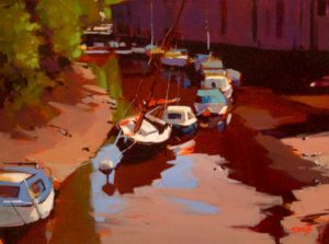 """SOLD """"Lowtide (On the Dart River),"""" by Mike Svob 12 x 16 – acrylic $1115 Framed"""