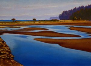 "SOLD ""Low Tide at Piper's Lagoon,"" by Ray Ward 9 x 12 – oil $775 Framed"