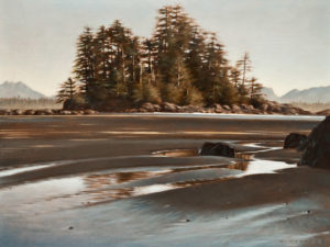 "SOLD ""Low Tide, Schooner Cove,"" by Ray Ward 12 x 16 – oil $1040 Unframed"