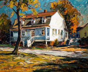 "SOLD ""Lumière du matin, maison de Sillery,"" by Raynald Leclerc (Morning Light, Sillery House) 20 x 24 – oil $2200 Unframed"