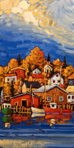 "SOLD ""Lunenburg Colours,"" by Rod Charlesworth 10 x 20 – oil $1350 Unframed"