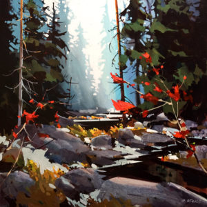 "SOLD ""Lynn Canyon in Soft Blue,"" by Michael O'Toole 24 x 24 – acrylic $2200 Unframed"