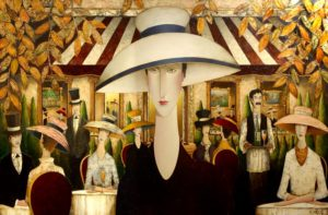 "SOLD ""Madeleine's Holiday,"" by Danny McBride 48 x 72 – acrylic $15,000 (thick canvas wrap without frame)"