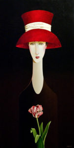"SOLD ""Madelyn and the Tulip,"" by Danny McBride 24 x 48 – acrylic $4100 Unframed"