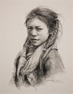 "SOLD ""Magiahma,"" by Donna Zhang 9 1/2 x 12 1/2 - pencil drawing $1240 Framed"