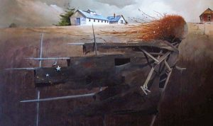 "SOLD ""Maidenhead Scarecrow,"" by Mark Fletcher 36 x 60 – acrylic $4300"