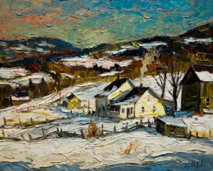 "SOLD ""Maison de Charlevoix,"" by Raynald Leclerc 24 x 30 – oil $2300 Unframed"